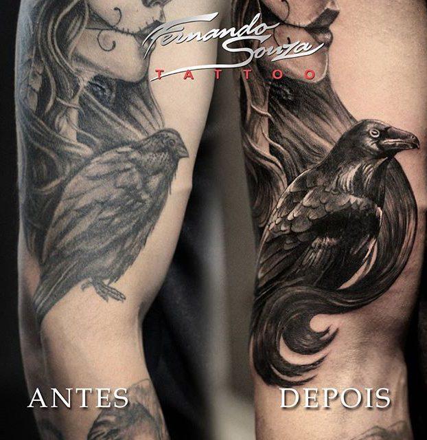 arte de corvo no braço