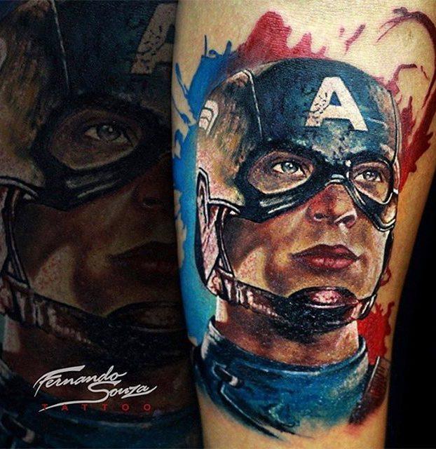 capitão américa no braço