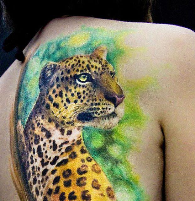 desenho realista de onça colorida