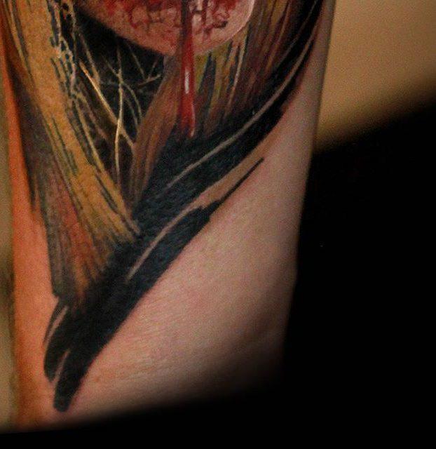 detalhe de realismo colorido de caveira no braço 3