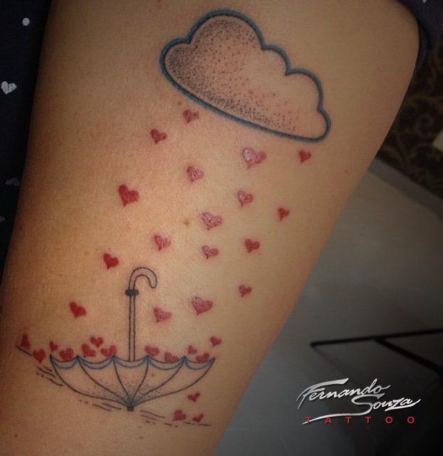 guarda-chuva na perna tatuagi colorida