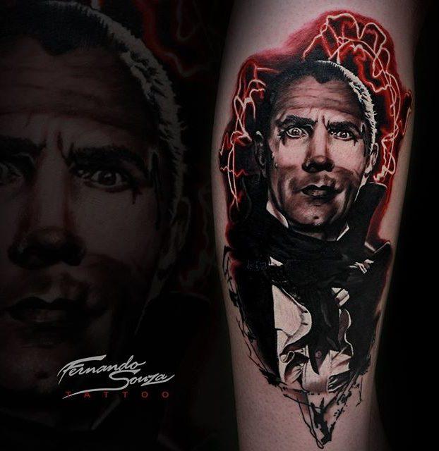 tatuage de vampiro realista colorida