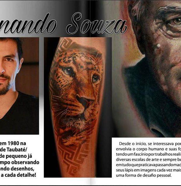 tatuagem de onça realista colorida