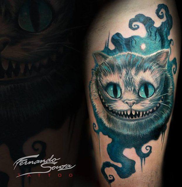 tatuagi de gato na perna