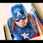 Drawing Captain America   Desenhando o Capitão America #2