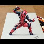 Drawing  Deadpool 3D   Desenhando o Deadpool Com Efeito 3D