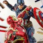 Speed Drawing: Captain America vs Iron Man (Civil War)