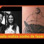 Thaila Ayala realiza sonho de fazer tatuagem com renomado artista: Pensa na felicidade